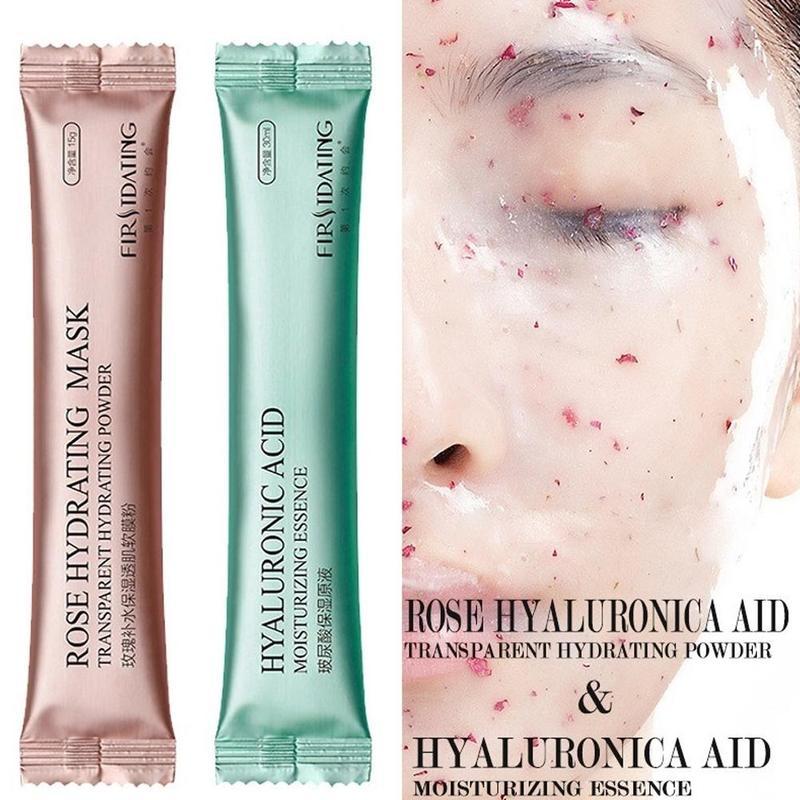 Diy spa colágeno rosa máscara em pó ácido hialurônico macio máscara de cuidados com o rosto anti rugas descascar fora da máscara de borracha