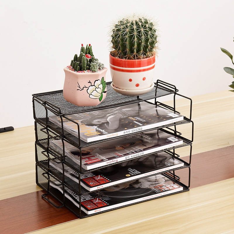 Metal Mesh File Storage Shelf Stackable A4 Paper Document Invoice Storage Trays Holder Magazine Books Bookend Office Organizer