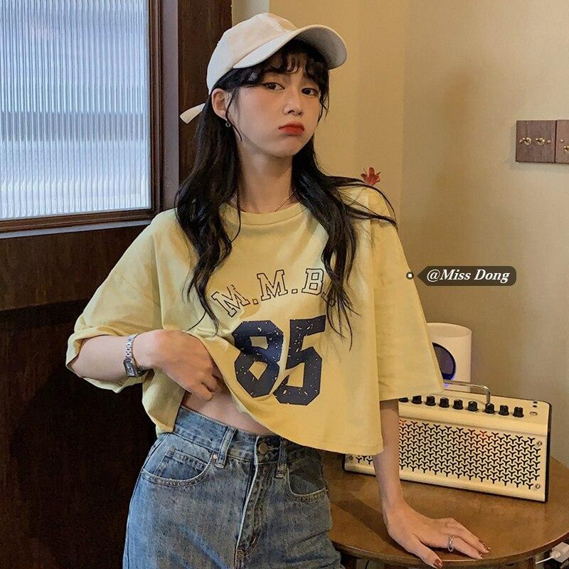 Women's Cotton T-shirt Short-Sleeved Summer New Clothes Korean Style Loose All-Matching Short Midrif