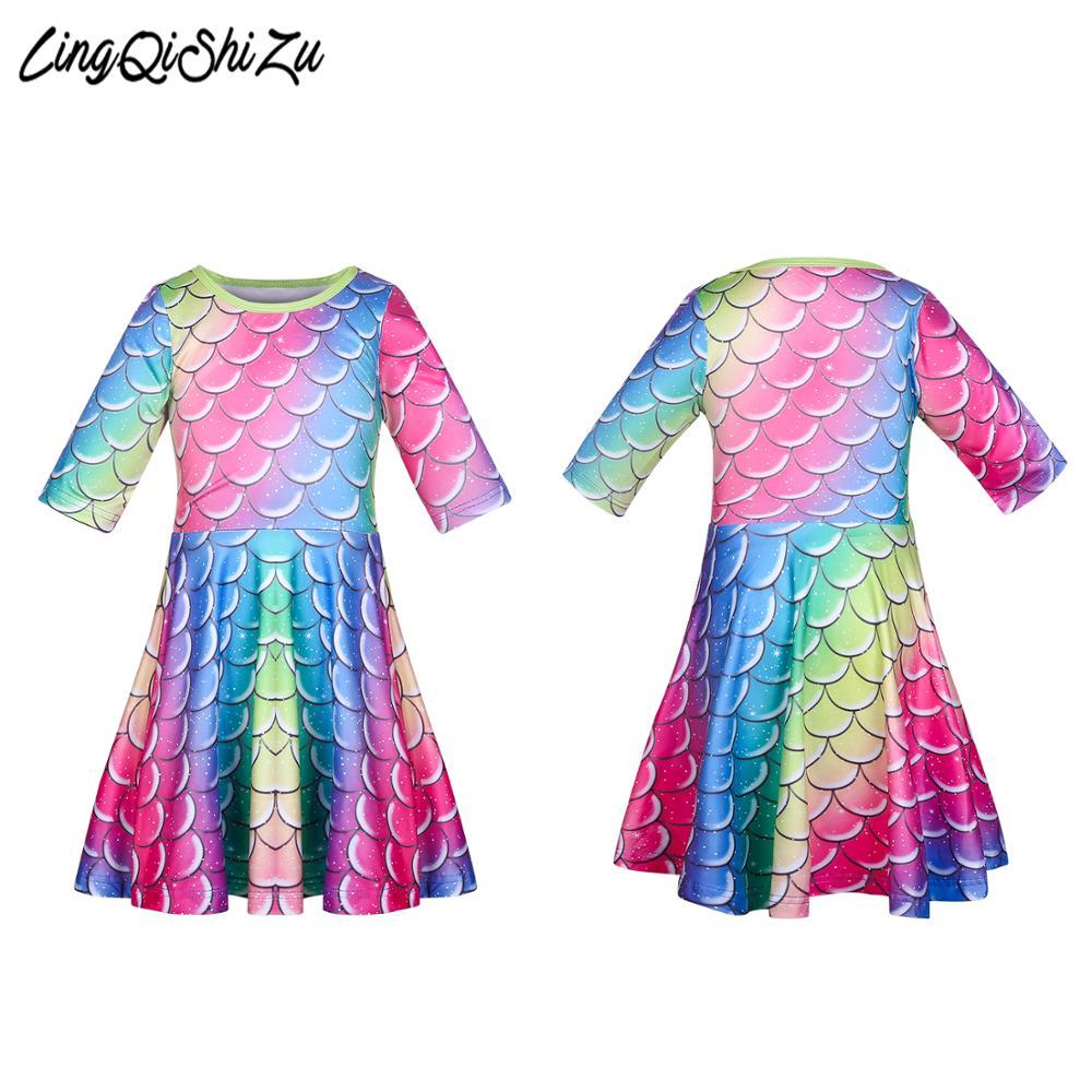 Vestido de Arco Iris para niñas Vestidos coloridos a escala de peces disfraz de cumpleaños para niñas Vestidos de princesa de fiesta para niñas 2517
