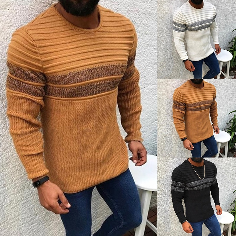 2020 New Men's Sexy Knitted Pullovers Slim Fit Sweater Male Street Style Long Sleeve Casual Sweaters