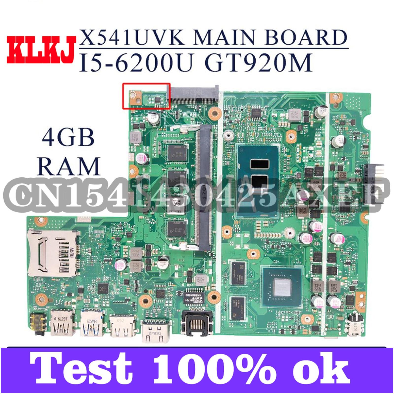 KLKJ X541UVK اللوحة الأم لأجهزة الكمبيوتر المحمول ASUS X541UJ X541UV اللوحة الرئيسية الأصلية 4GB-RAM I5-6200U GT920M