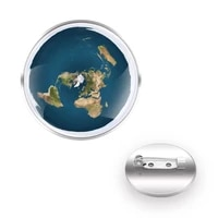 the earth is flat design brooches collar pin glass convex dome decoration charm accessories gift