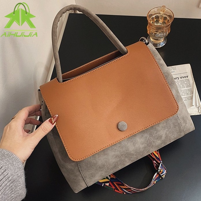 Fashion Simply Leather Crossbody Bag For Women 2020 Winter Faux Suede Splicing Shoulder Messenger Bag Lady Travel Small Handbag