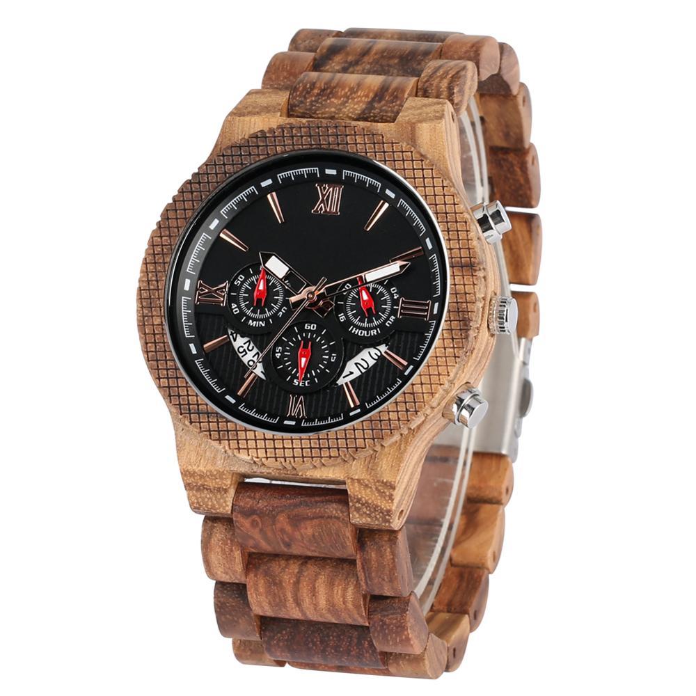 Reloj de madera con correa de madera Natural, reloj con estuche Calendario, relojes de pulsera de madera para hombre, regalos de San Valentín, erkek kol saatleri