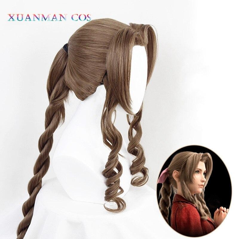 Peluca de Cosplay Final Fantasy VII Aerith gainstown, peluca marrón, longitud de 100cm, mujeres onduladas, flequillo rizado, Red para el pelo