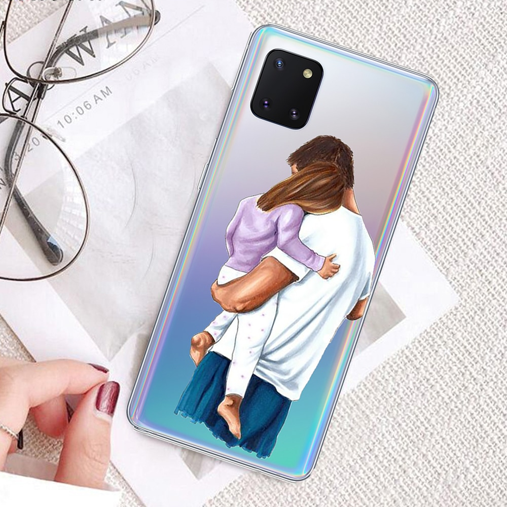Silicon Case for Samsung Galaxy Note10 Lite Transparent Mother and kid Soft Tpu Case durable Shockpr