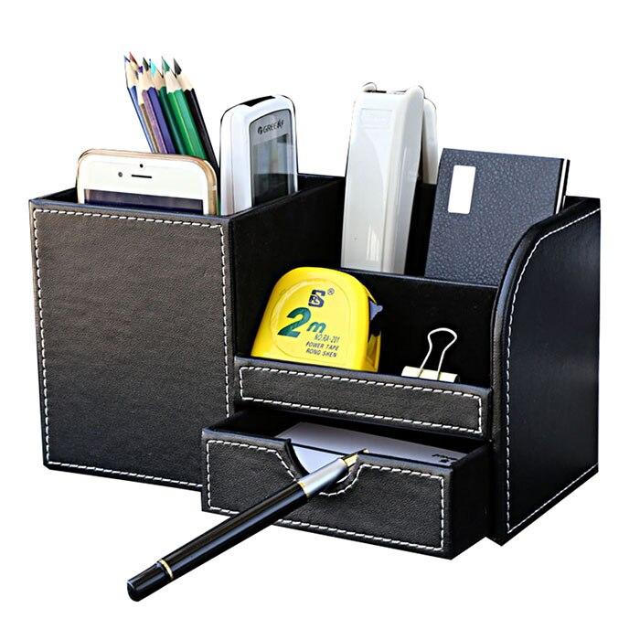 Basupply 1Pc Desktop Suporte da Pena Dos Artigos de Papelaria Lápis Titular Caso De Armazenamento Cosméticos Organizador para a Mesa de Escritório Escola Acessórios