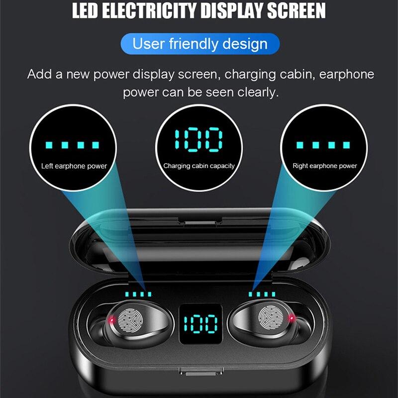 TAOCHIPLE F9 TWS Bluetooth Kopfhörer 5,0 Wireless Kopfhörer Ladung Box Sport Headset Ohr Knospen mit Dual Mikrofon für