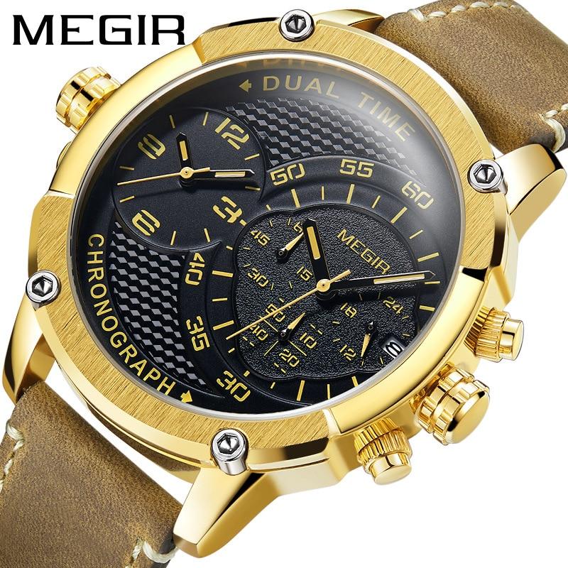 Sports Watch Multi-function Leather Quartz Watch Personality Dial Relogio Masculino Megir Fashion Mens Watch Dual-time Display