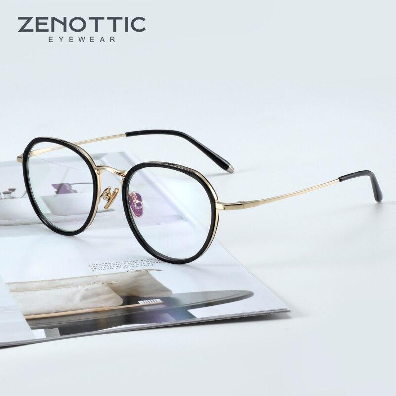 ZENOTTIC-إطار نظارة ريترو مستدير للرجال والنساء ، عدسات بصرية ، قصر النظر ، وصفة طبية ، نمط كلاسيكي ، أسيتات