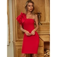 sesidy women party dress china supplier vintage ruffles sleeve red pencil cocktail evening bandage dress one shoulder