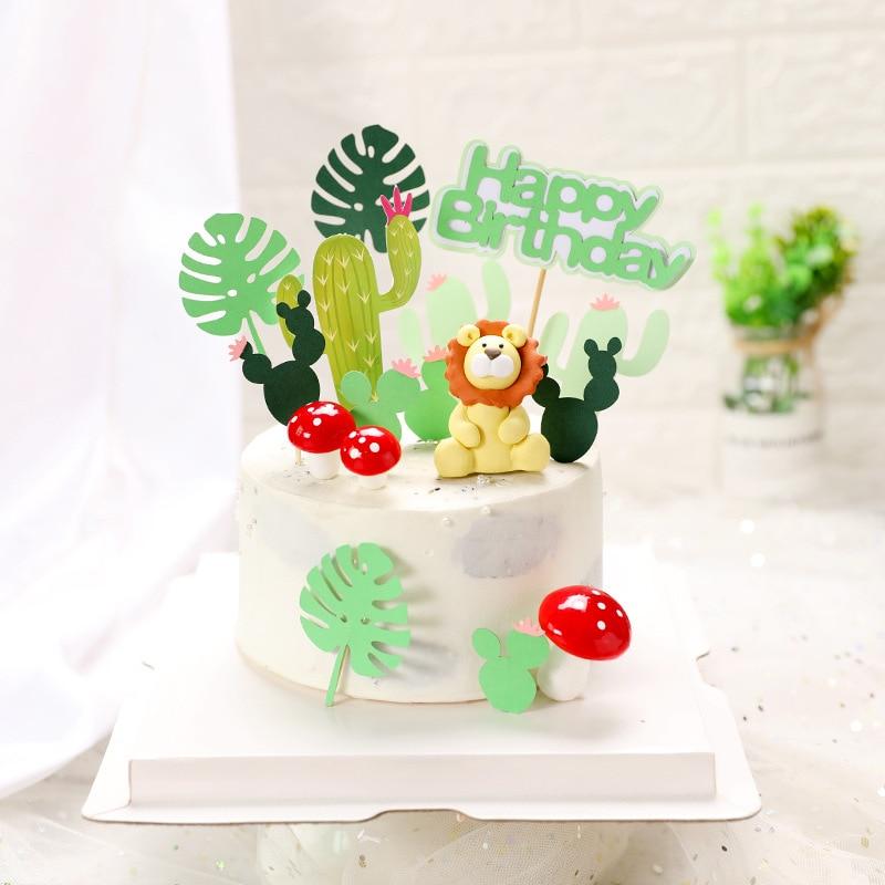 Conjunto de plantas tropicales animales de la selva Mono león Tigre dinosaurio elefantes torta Toppers hojas de Monstera Cactus suministros de fiesta para pasteles