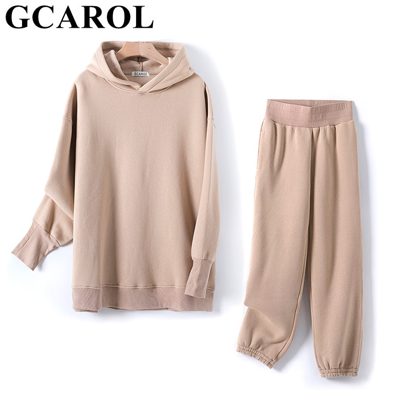 GCAROL Fall Winter Women Extra Long Hooded Suits 80% Cotton Fleece Oversized Boyfriend Sweatshirt Elastic Waist Harem Pants Sets