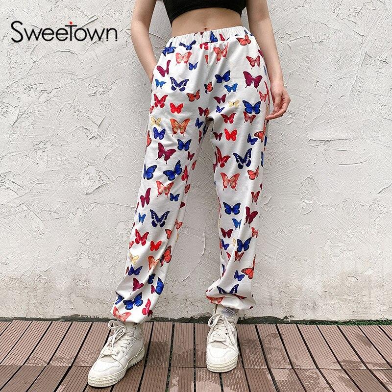 Sweetown colorido borboleta impressão mulheres jogger sweatpants casual elástico calças de cintura alta feminino hip hop streetwear harajuku