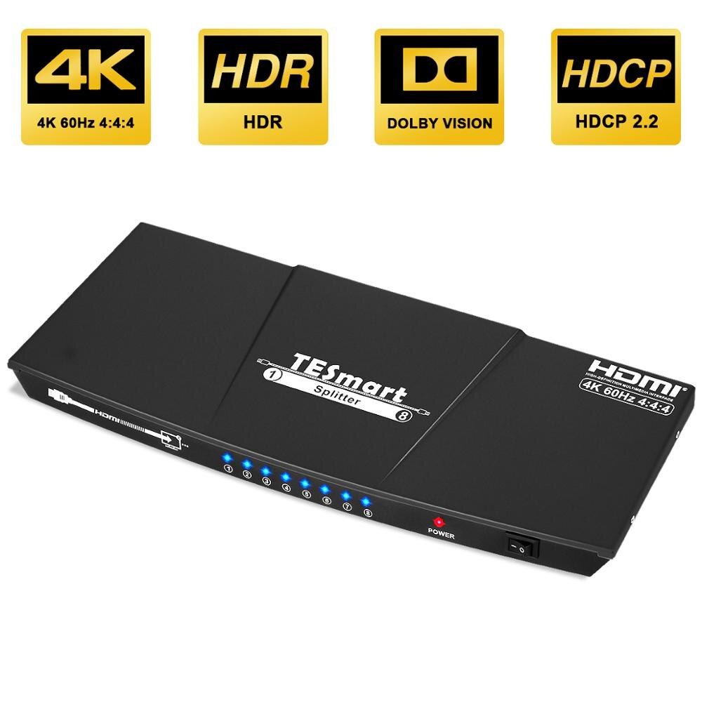 Ultra HD 4K HDMI Splitter 1x8 Splitter HDMI 1In 8 Out Splitter 8 Ports Support S/PDIF Audio 4K@60Hz HDMI Switch Splitter 8 Ports
