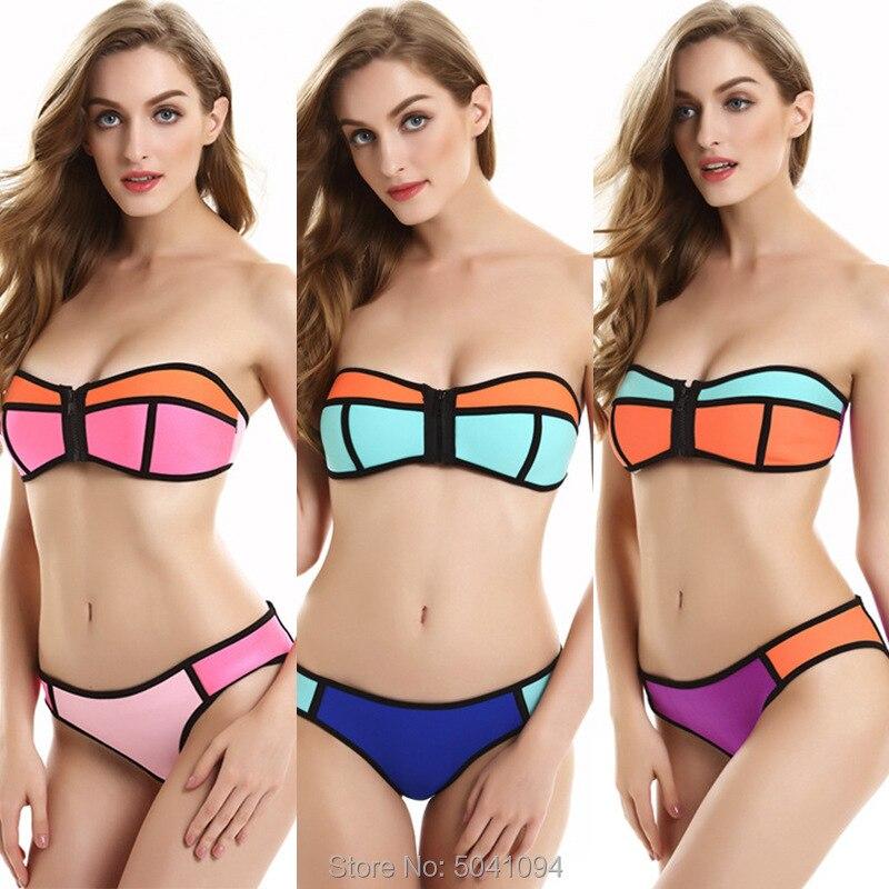 Sheshot swimming suit for women swimwear neoprene high waist bikini set women's split multicolor swimsuit plus size sexy biquini