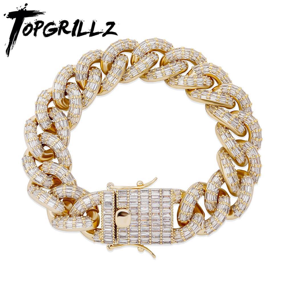 TOPGRILLZ 16 مللي متر ميامي الكوبي سلسلة سوار 4 ألوان عالية الجودة النحاس المواد مثلج خارج زركون الهيب هوب مجوهرات ل هدية