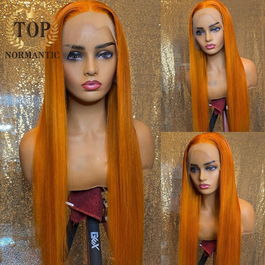 Topnormantic Orange Color 13x4 Lace Front Wigs For Women Brazilian Remy Human Hair Sliky Straight Wi