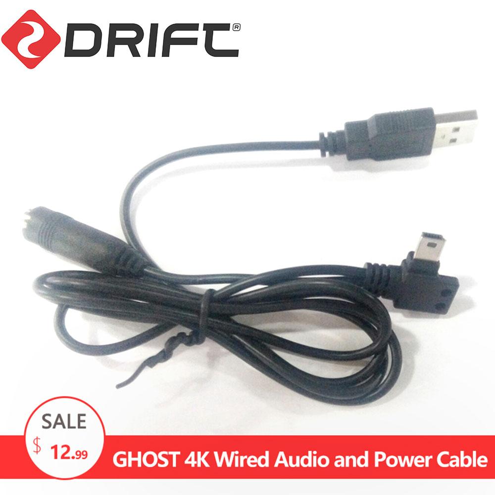 Drift accesorios para cámara de deportes de acción Cable de Audio y Cable de alimentación para Ghost 4k
