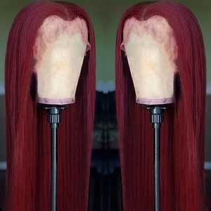 Burgundy Wine Red Long Straight Synthetic Lace Front Wig Heat Resistant Fiber Middle Parting For Women Wig Natural Hairline