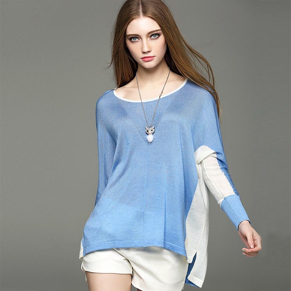 2021 Spring Autumn Wool Blend Women's Contrast Round Neck Long Sleeve Hem Side Split Loose Lazy Pullover Cardigan