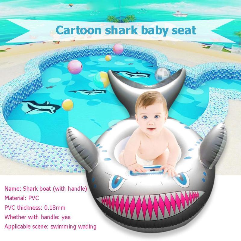 Cartoon Shark Aufblasbare Float Kids Baby Schwimmen Ring Kleinkind Infant Swim Pool Neck Float Kreis Sitz