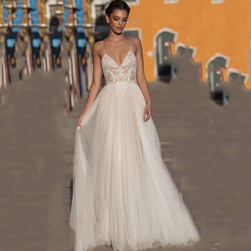На Чжу пляжное свадебное платье-бохо платье vestido de noiva с богемским кружевом Свадебное платье с низким вырезом на спине на тонких бретелях с v-...