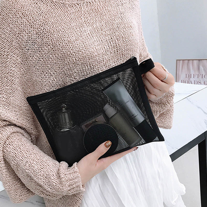 Cosmetic Bags Zip Makeup Mesh Bags Pencil Case Pouch Travel Toiletry Storage Case FS99