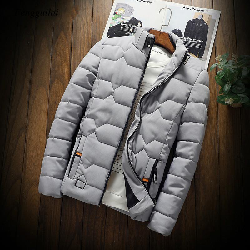Мужская зимняя куртка, новая мужская повседневная утепленная хлопковая куртка, приталенная одежда, Молодежная однотонная куртка, Мужская о...