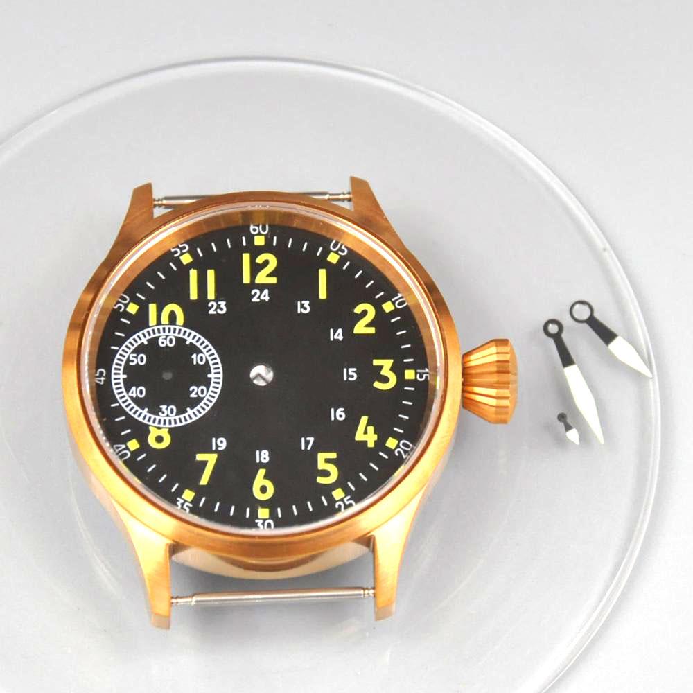 Caixa do Relógio Caixa em Aço Relógios de Pulso dos Homens Grupo Inoxidável Dial Mãos Safira Vidro Fit St3600 6497 – 6498 Movimentos Mecânicos 43mm