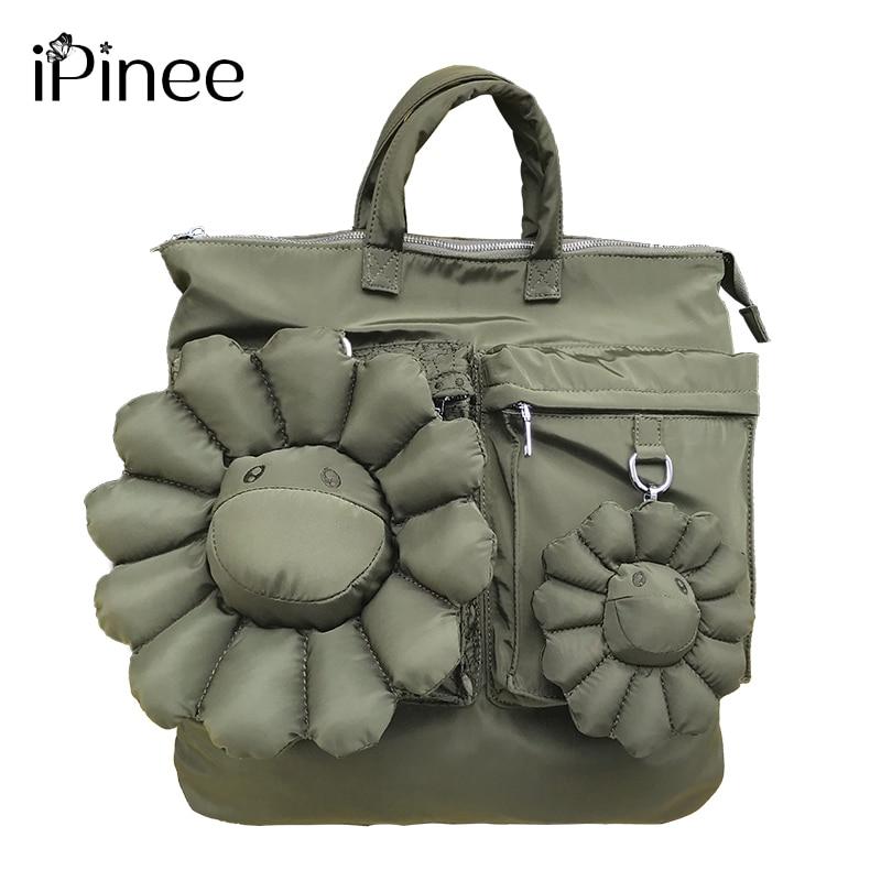 IPinee حقيبة أكسفورد للنساء 2020 سعة كبيرة فاخرة مصمم حقيبة يد مع الشمس زهرة عالية الجودة حقيبة تسوق عادية