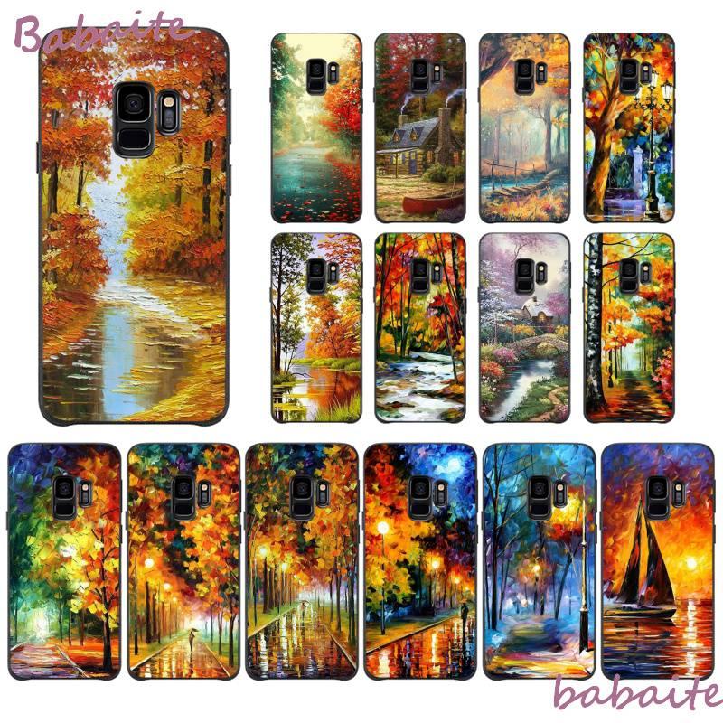 Pintura al óleo de Arte de Babaite, árboles de otoño canadiense, parque de arce de lujo, fonecase única para Samsung GALAXY S5 6 7 EDGE PLUS 8 9 PLUS