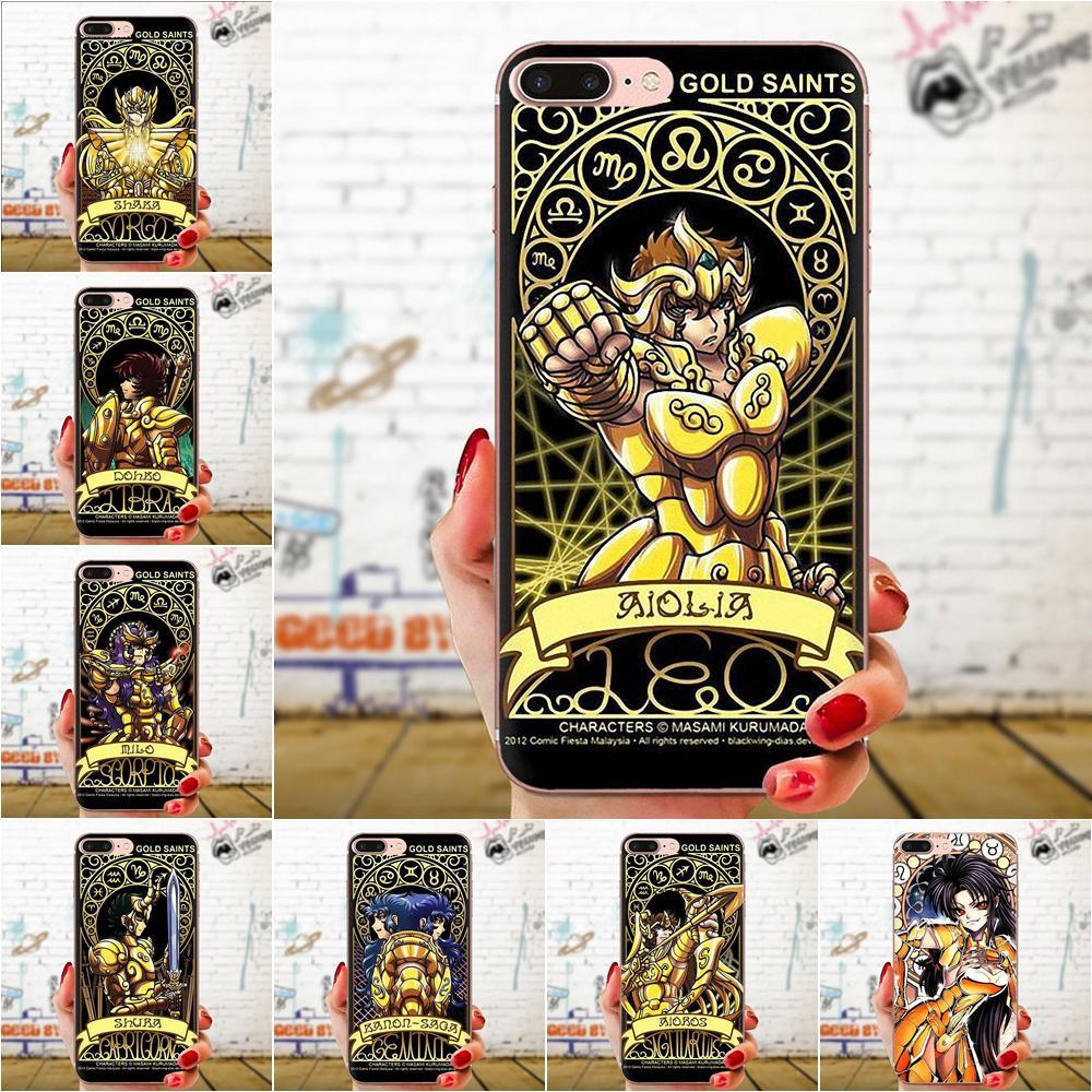 De dibujos animados de Saint Seiya oro Santos tarjeta para Apple iPhone 11 Pro X XS X Max XR 4 4S 5 5C 5S SE SE2 6S 6 7 8 Plus TPU suave mejor de los casos