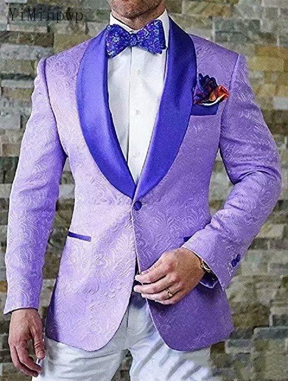 YiMinpwp جاكارد الرجال الدعاوى شال التلبيب سترة زر واحد الرجال البدلات الرسمية بدل زفاف 2 قطعة معطف بانت