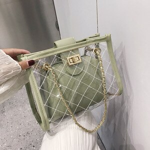 Fashion Lady Bag Lingge Chain Shoulder Bag Wild Transparent Jelly Small Square Bag Bolso De Hombro Con Cadena De Diamantes Jalea