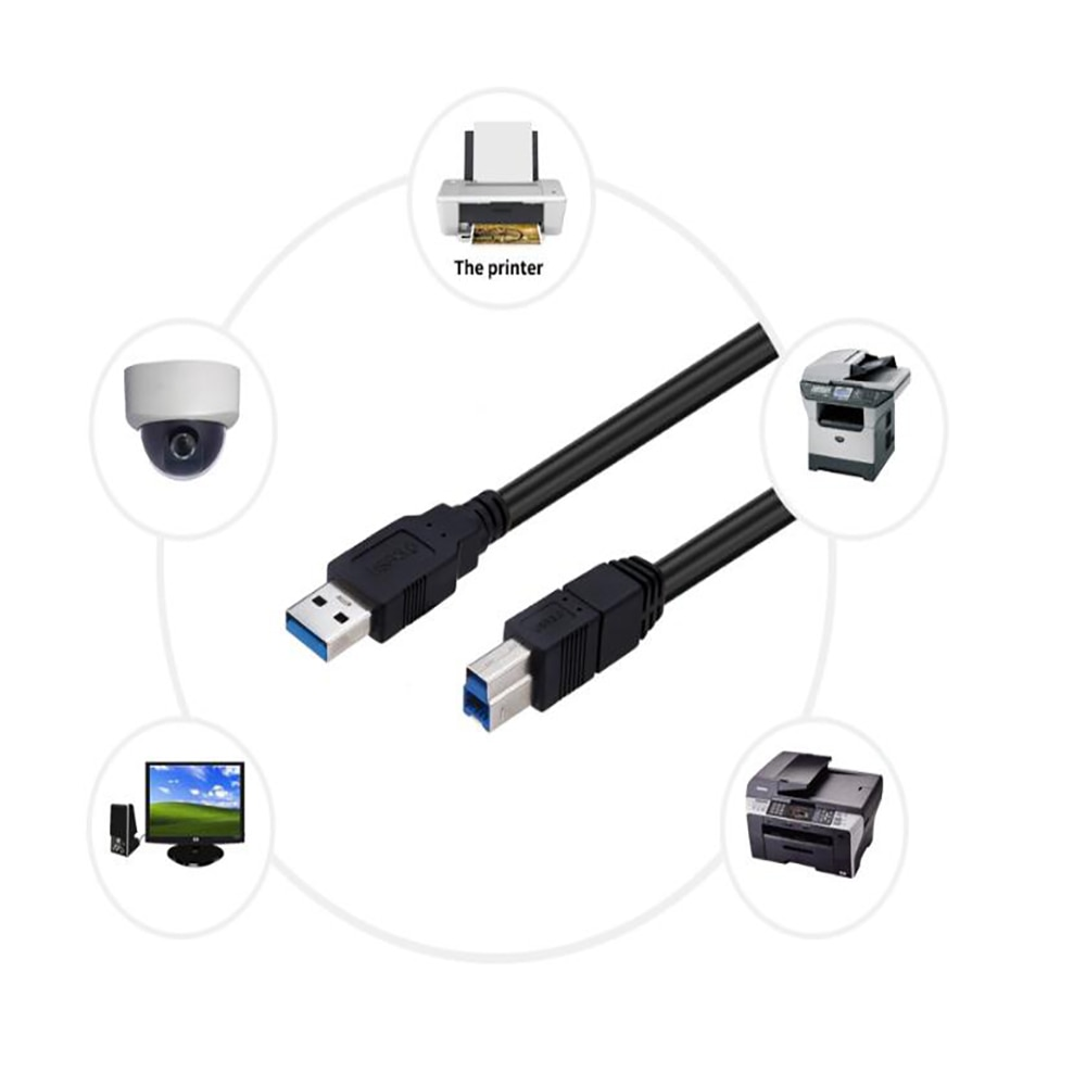 USB Printer Cable USB Type B Male to A Male USB 3.0 Cable for Canon Epson HP ZJiang Label Printer DAC USB Printer black