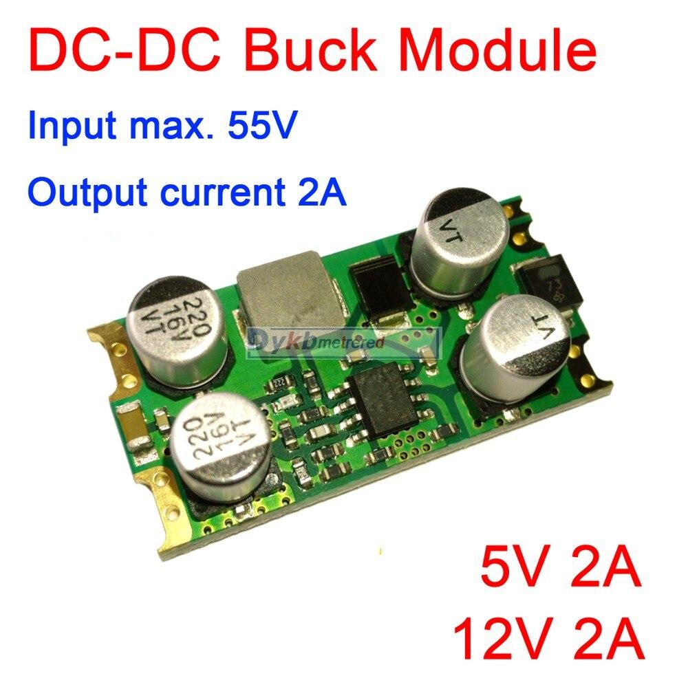 Módulo convertidor Buck de DC-DC alto voltaje 5 V-55 V 48V 36V 24V 12V a 5V 12V 2A regulador de voltaje reductor indicador LED de potencia del coche