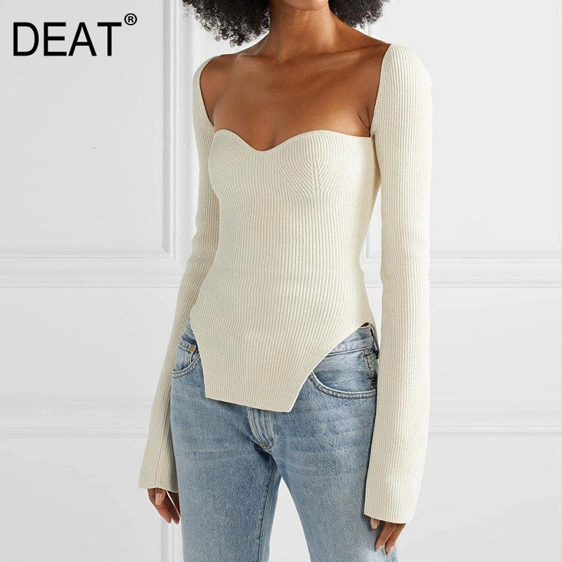 DEAT 2021 new spring and summer fashion women clothes cashmere sqaure collar full sleeves elastic high waist  pullover WK080
