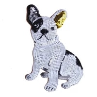 cute dog sequins fabric patch embroidered iron on patches for clothing diy decoration clothes stripe stickers applique badges