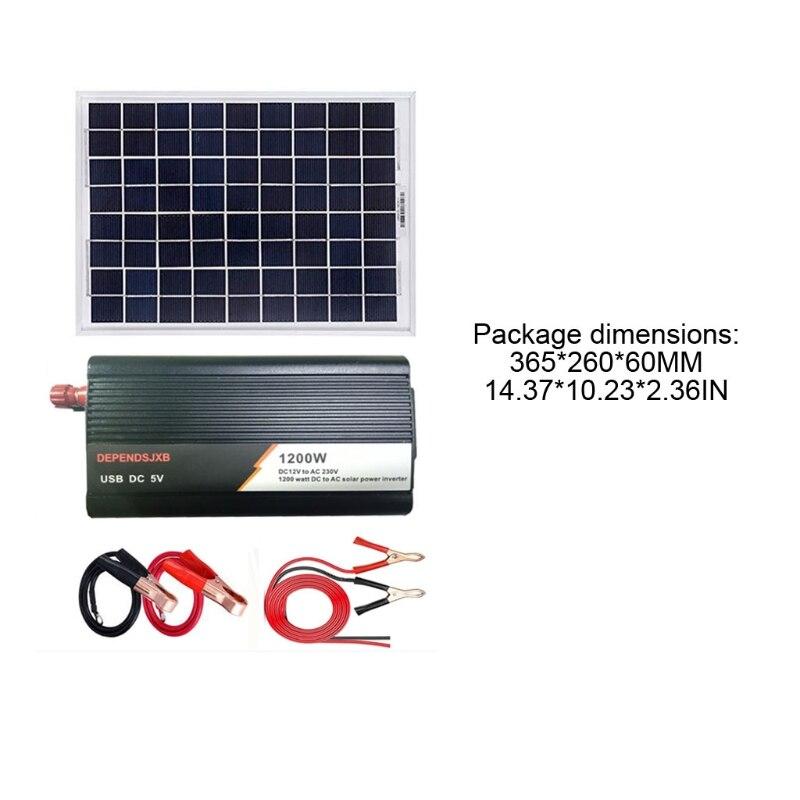 شاحن ألواح الطاقة الشمسية المحمولة ، طقم نظام الطاقة الشمسية الكامل ، خارج الشبكة الألواح الشمسية مع محول الطاقة الشمسية 1200 واط 12 فولت