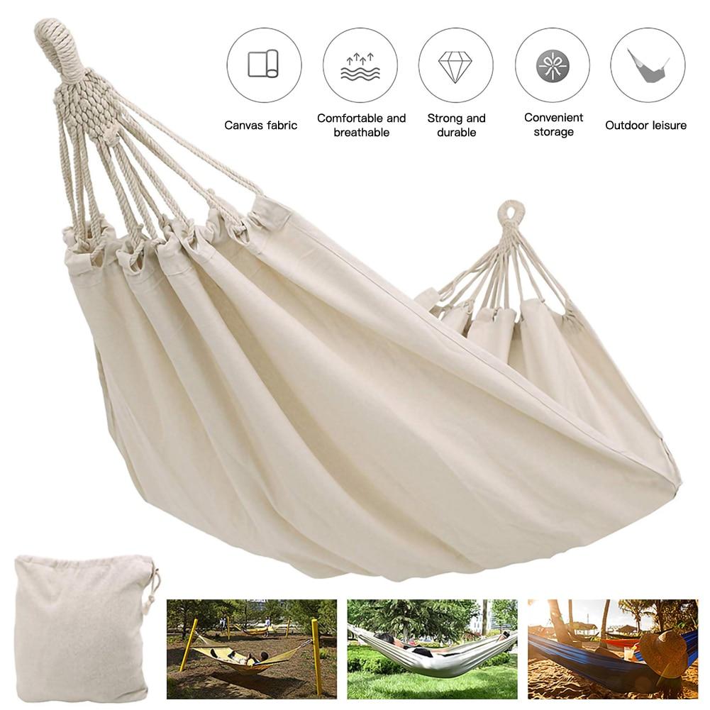 Двойной тканевый гамак, подвесной гамак для отдыха на открытом воздухе, защита от опрокидывания, для кемпинга, из холщовой ткани, для внутре...