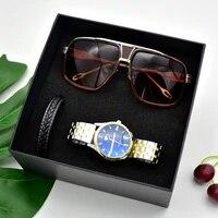 high quality men watch sunglasses bracelet set stainless steel mens quartz watches gifts for boyfriend men beautiful packaged