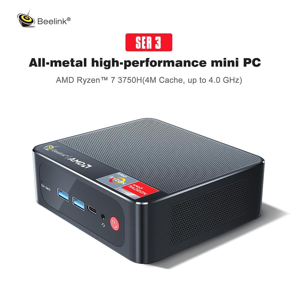 Beelink SER3 جهاز كمبيوتر صغير ويندوز 10 الألعاب جهاز كمبيوتر شخصي AMD Ryzen 7 3750H 4GHz 4C/8T 4K UHD الثلاثي عرض مكتب AMD Radeon RX Vega