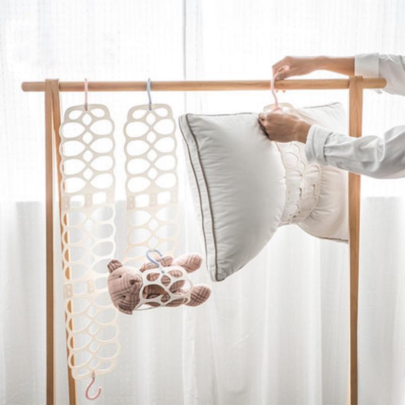 Colgante titular seco perchero para almohada Multi-uso de secado muñeca de juguete estante ajustable balcón ropa titular plegable suspensión