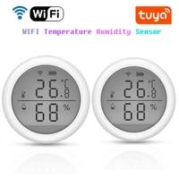 Capteur de temperature et dhumidite pour maison connectee Tuya  wi-fi  avec ecran LED  fonctionne avec Alexa et Google Assistant  pas besoin de Hub