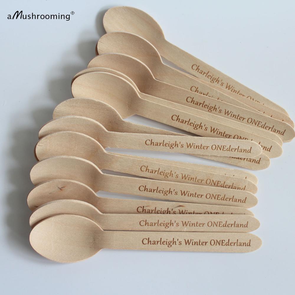 Desechable cucharas de madera de ONEderland invierno láser grabado cucharas cumpleaños personalizado cuchara personalizado nombre texto fuente