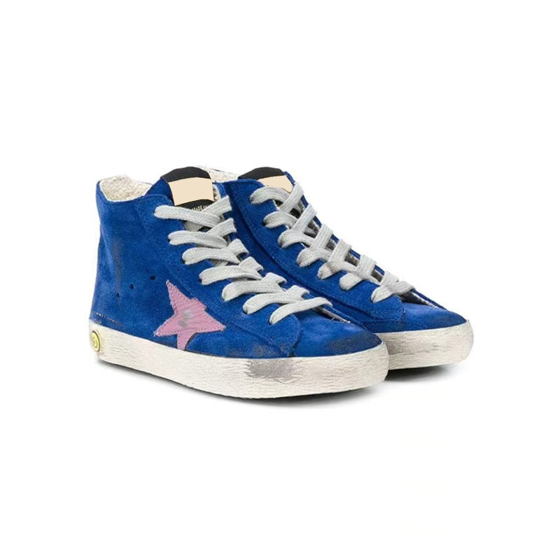 Autumn and Winter New  Parent-child Sneakers First Layer Cowhide Distressed Dirty Star Fashion  High-top Children's Shoes QZ58 enlarge