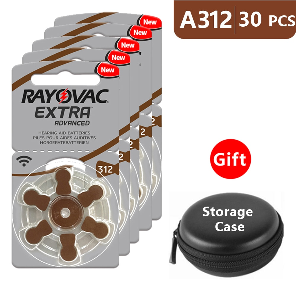 Hearing Aid Batteries Size 312 za Rayovac Extra Advanced,Pack of 30,Brown Tab PR41 1.45V Type 312 Zi