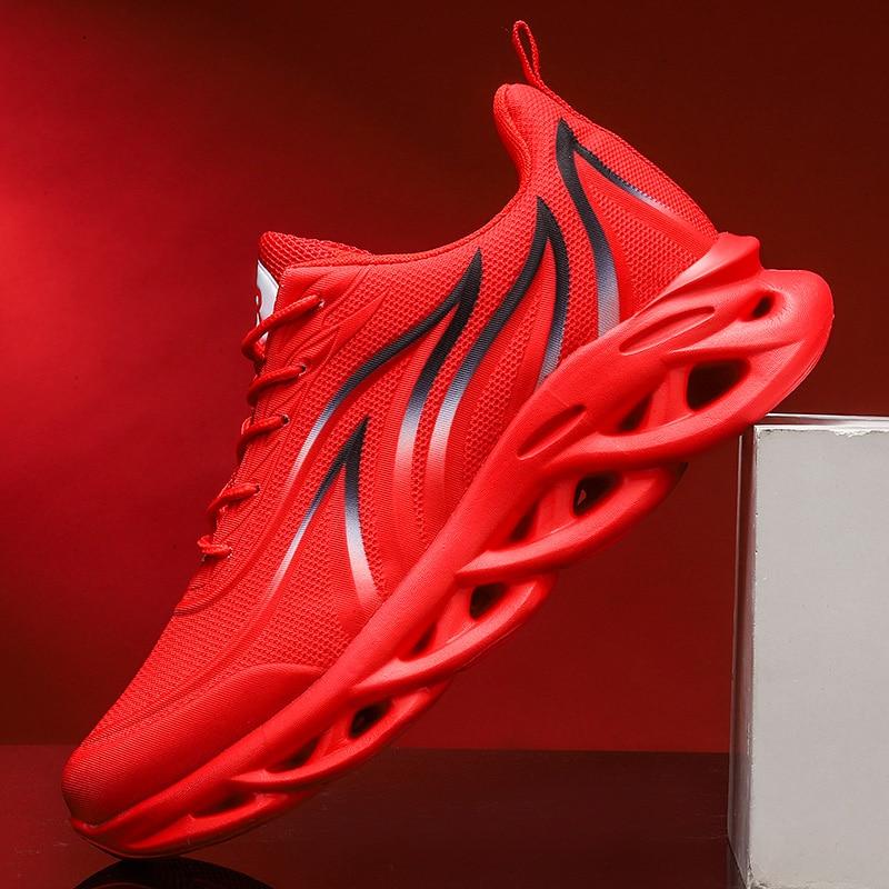 Chaussures de course à lacets pour hommes, baskets décontractées, résistantes à l'usure, Design imprimé flamme, semelle torsadée accrue